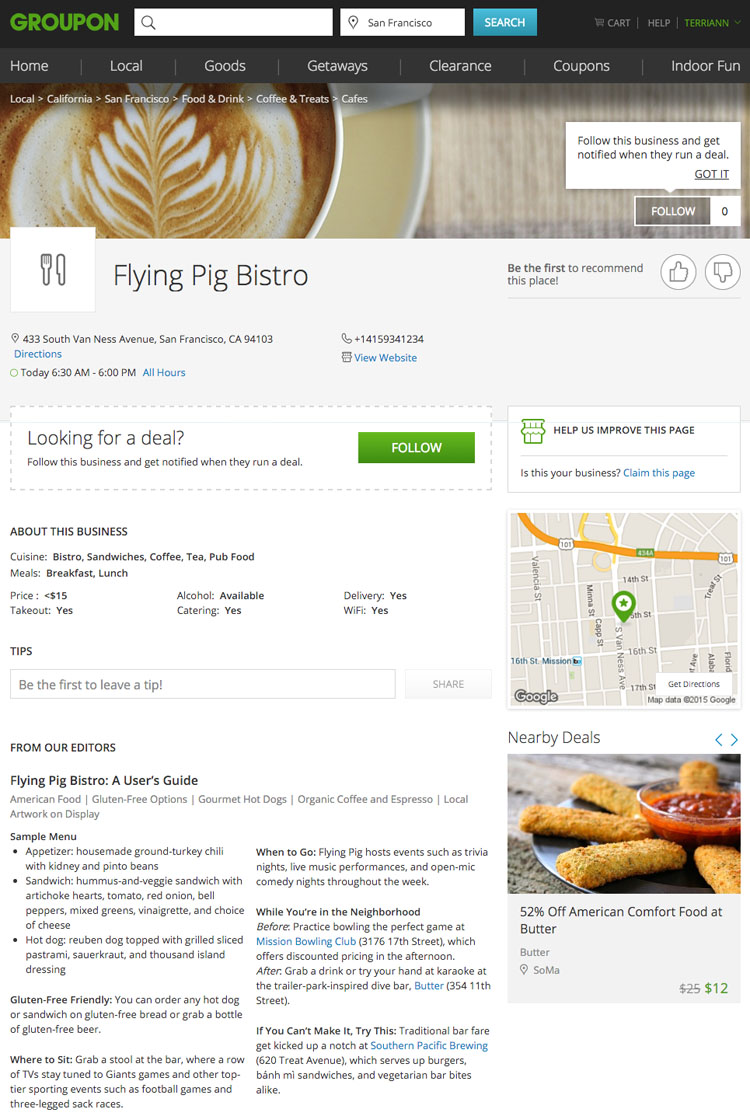 Groupon group saving coupon site plus new Groupon Pages for restaurants / dining
