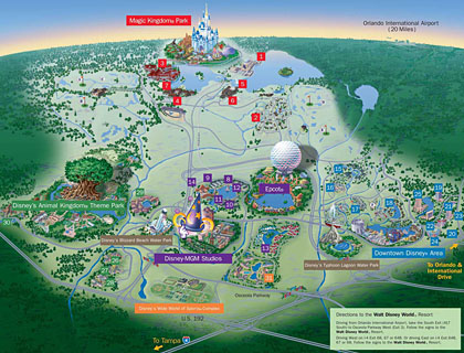 Walt Disney World in Orlando, Florida map (2011)