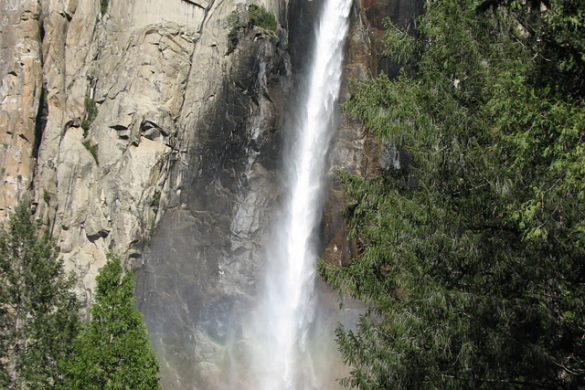 Bridal Veil Falls at Yosemite National Park in spring
