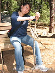Whittling wood hiking stick at Yosemite National Park