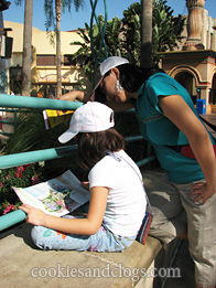 Checking the map of Disney California Adventure Park near Disneyland