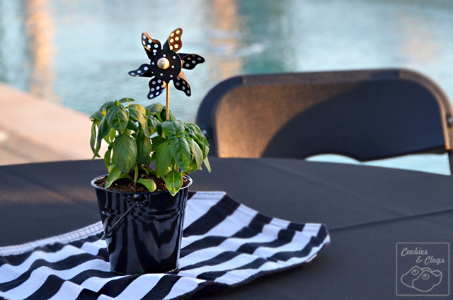 Simple Wooden Pinwheel and Plant Event Centerpiece