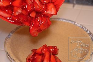 Strawberry glaze graham pie crust with cool whip
