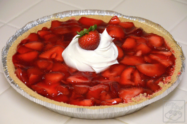 Strawberry glaze graham pie crust with cool whip