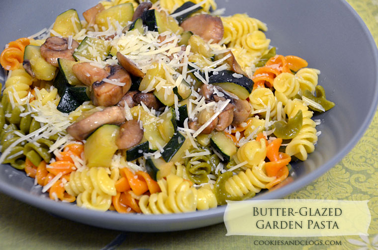 Easy Butter-Glazed Garden Pasta Recipe w/ Tri-Color Rigatoni, Zucchini, & Mushrooms