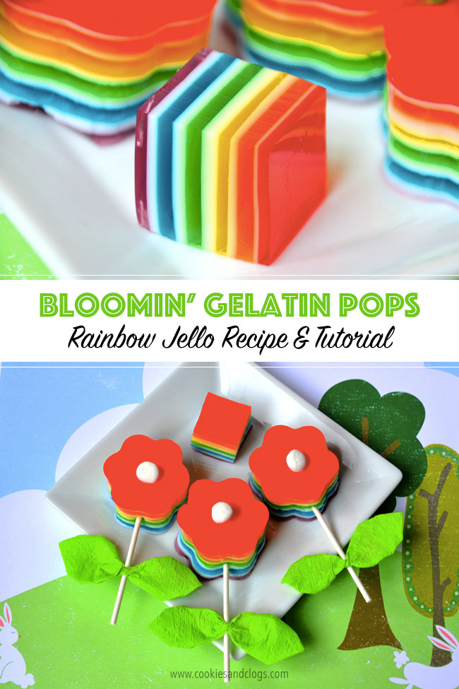 Food | Crafts | Bloomin' Gelatin Pops are an easy spring craft and treat. Get this rainbow jello / jell-o recipe and use the DIY flower pop craft tutorial.