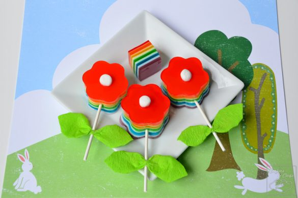 Rainbow Jell-O Spring Flower Recipe Craft Idea