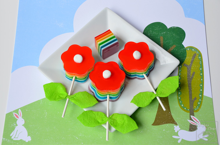 Crafts | Recipes | Bloomin' Gelatin Pops are an easy spring craft and treat. Get this rainbow jello recipe and use the DIY flower pop craft tutorial.