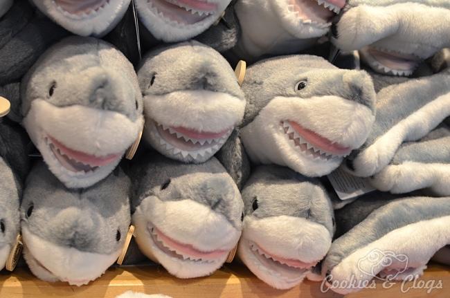 Smiling plush stuffed sharks at the Monterey Bay Aquarium