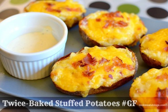 Gluten-Free Twice-Baked Stuffed Potatoes Recipe with cheese, bacon, sour cream, and butter #Recipe #Food