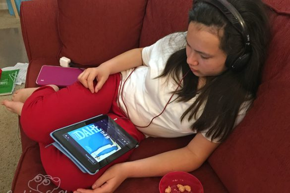 Reading with Your Ears – Audible Audiobooks Review, Teen w/ headphones listening to The BFG by Ronald Dahl