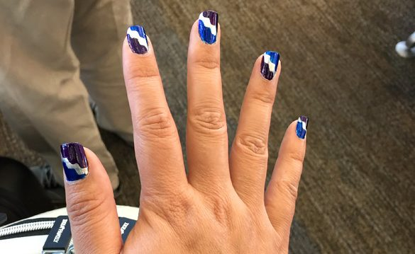 DIY Nail Art | If you want to do something a little different, try using tape to create easy designs. Here are 7 easy steps to using tape, decorative scissors (optional), and nail polish.