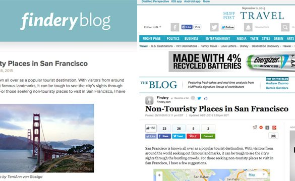 5 Non-Touristy Places to Visit in San Francisco feature on Findery and Huffington Post