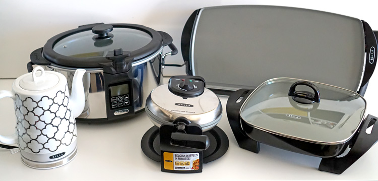 Kitchen | Household | Small Appliances | The new ceramic coated collection from BELLA offers non-stick small appliance for your kitchen that are affordable, easy to clean, and work great. The electric kettle and slow cooker with searing pot are especially impressive.