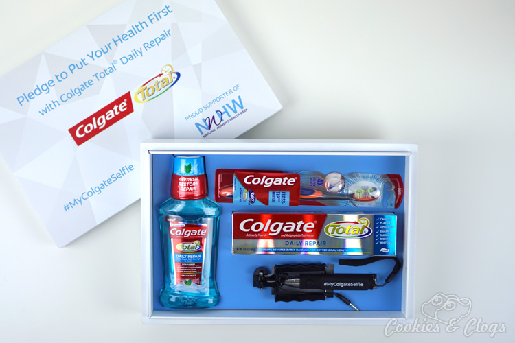 With National Women's Health Week coming up, come take the pledge from Colgate with me to put our health first and post a #MyColgateSelfie photo! See how the Colgate Total Daily Repair toothpaste and mouthwash can help too!