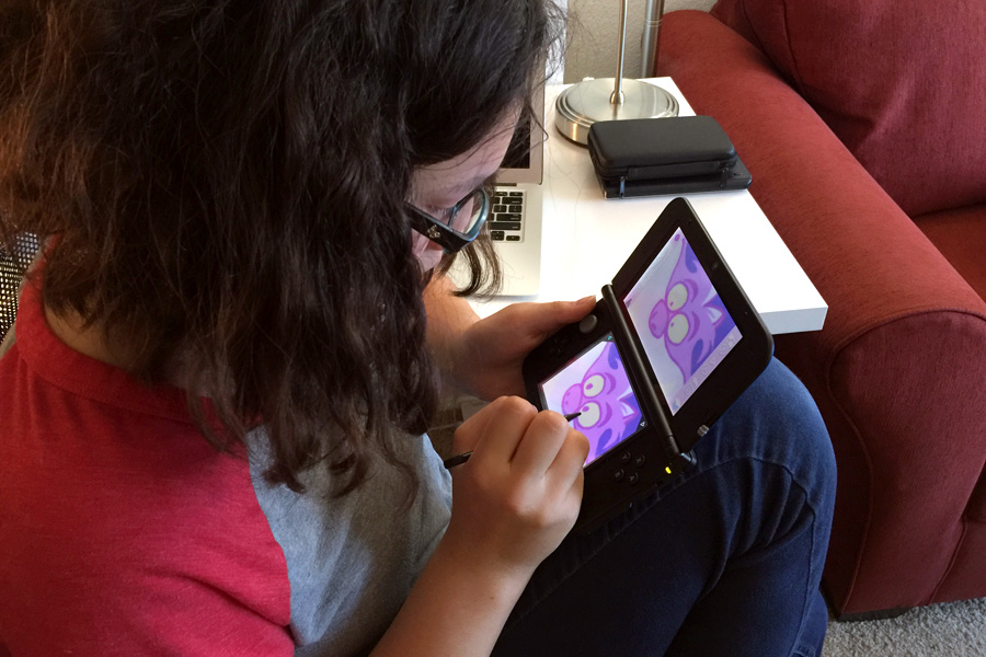 Cookies & Clogs   Video Games   The new Disney Art Academy for Nintendo 3DS has over 80 Disney and Pixar characters to draw and 40 lessons, ranging from starter to advanced. Step-by-step tutorials allow children to learn about the tools, try advanced shapes, practice shading, and master layers. See how my teen daughter enjoyed it in this candid review. Teen girl playing video game.