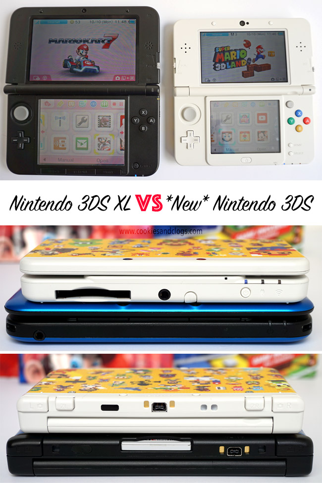 "Cookies & Clogs | Video Games | TheSuper Mario 3D Land Edition New Nintendo 3DS is now available with two sets of faceplates. How does the ""new"" version compare with the older one? See this New Nintendo 3DS review to see if this new model is worth an upgrade. Also look at the comparison of size with the XL version."