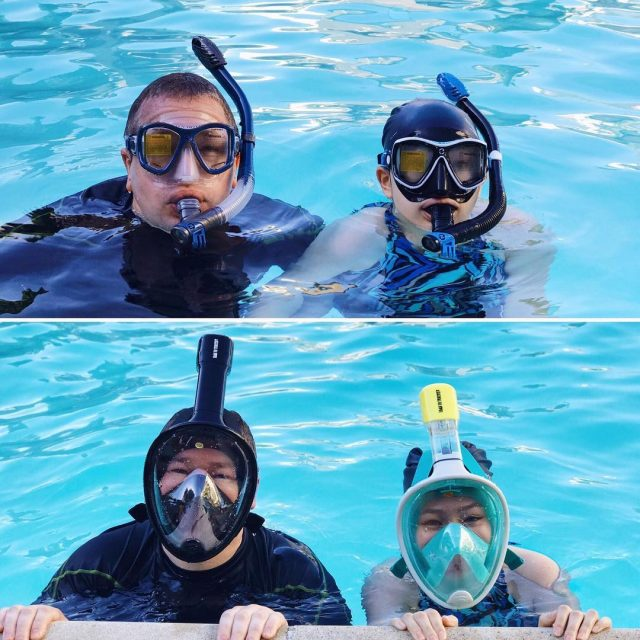 Testing out some new snorkel gear we ordered for Hawaiihellip