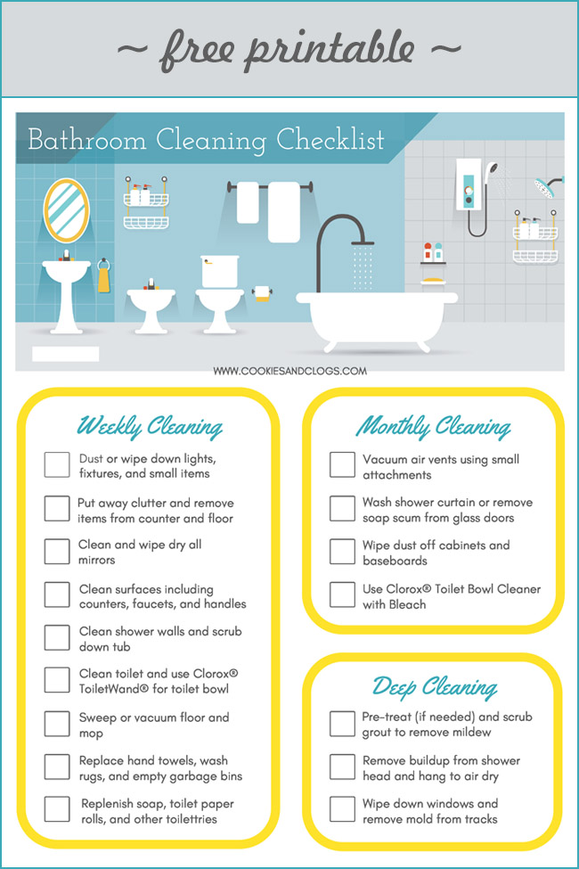 Cookies & Clogs | It can be a struggle to get kids to clean. Use this free printable Bathroom Cleaning Checklist as a sort of cleaning hack to make the chore easier to do and faster. Also, check out the Clorox® ToiletWand® starter kit to ease the apprehension even more