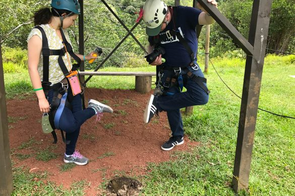Cookies & Clogs | My first experience with ziplining in Hawaii was with Skyline Eco Adventures Akaka Falls Zipline on the Big Island of Hawaii. See how the quality, safety, and amazing crew won us over. Check out the video of all seven lines! Stepping in cow poop.