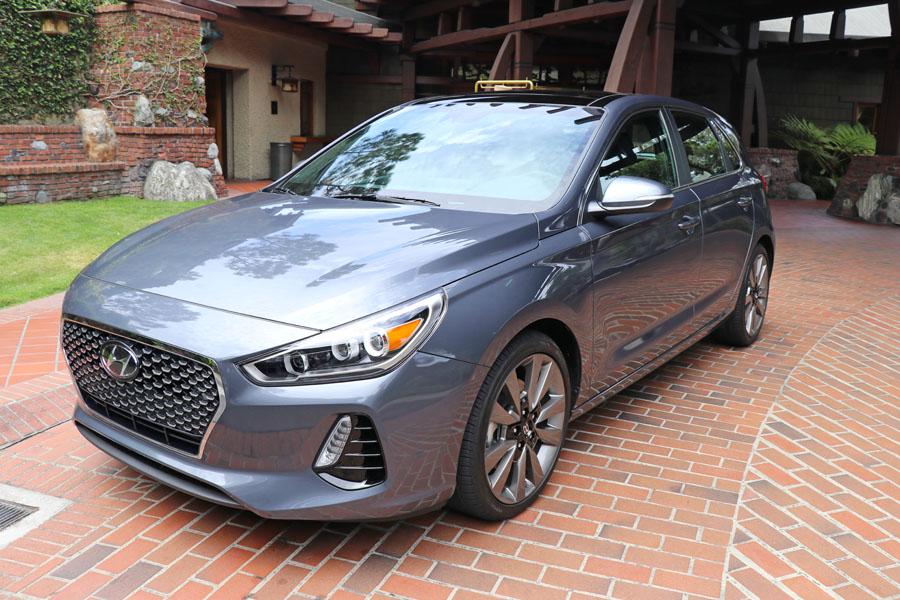 2018 Hyundai Elantra GT review. Front view, gray