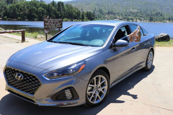2018 Hyundai Sonata - sedan near water with feet sticking out window