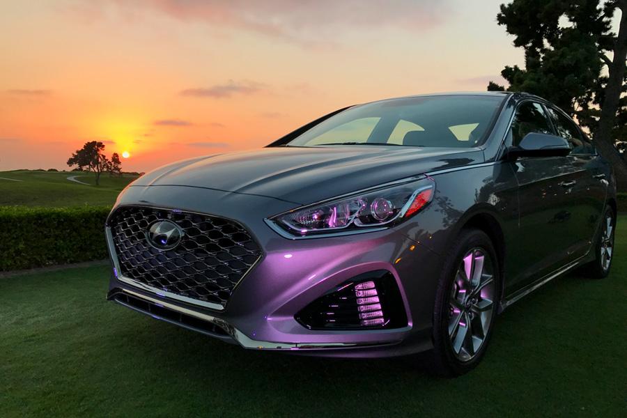 2018Hyundai Sonata gray, orange, and purple sunset beauty photo