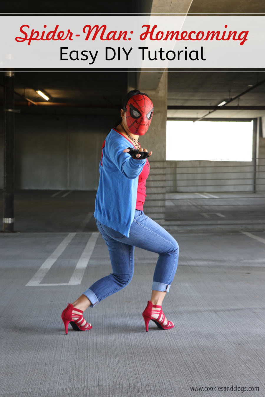 Cookies & Clogs | Inexpensive and easy Spider-Man DIY outfit tutorial plus printable spider logo template in honor of Spider-Man: Homecoming and Goodwill.