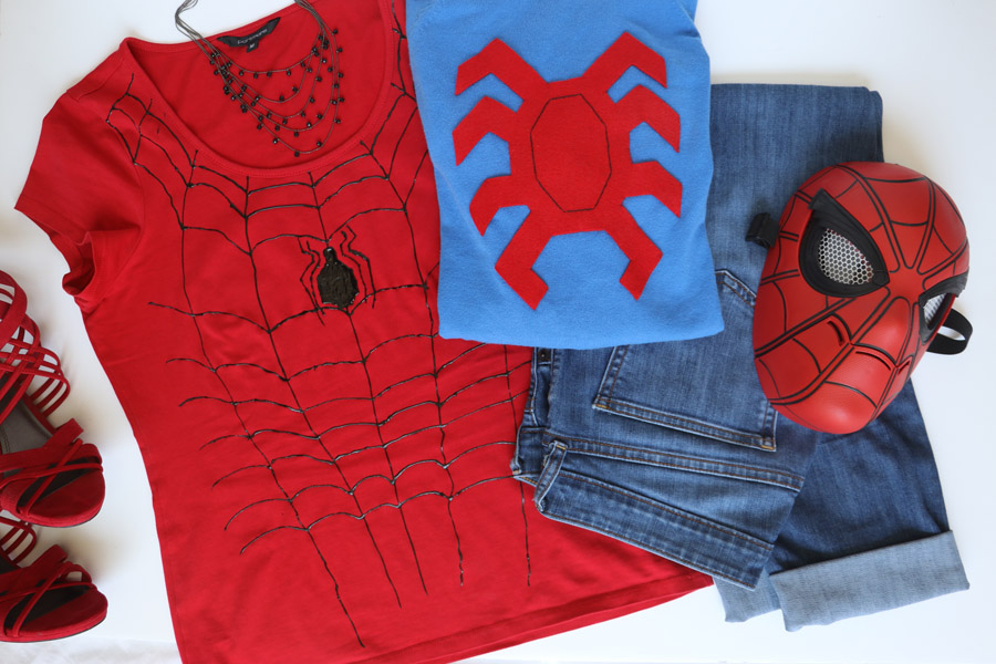 How to make an easy spider man diy outfit w printable spider template cookies clogs inexpensive and easy spider man diy outfit tutorial plus printable spider voltagebd Image collections