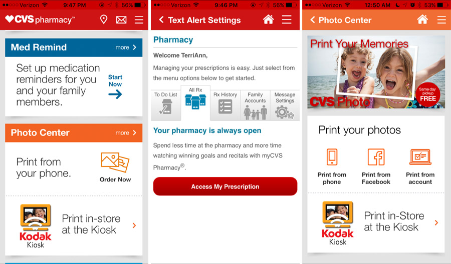 CVS Pharmacy App text notifications and same-day photo prints while on the go.