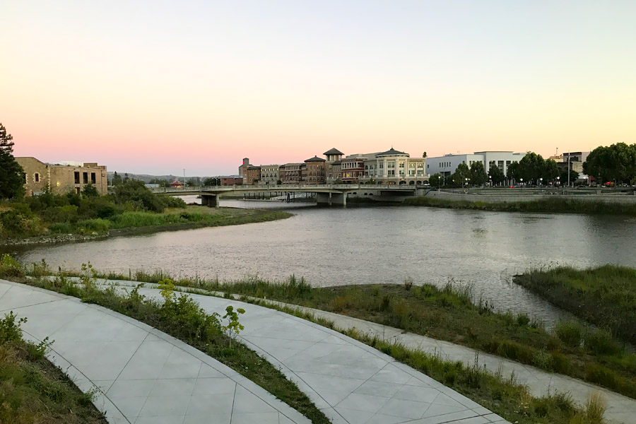 11 Things to Do in Napa, CA that Don't Involve Drinking Wine - Sunset Downtown Napa Oxbow Commons by 1st Street Bridge