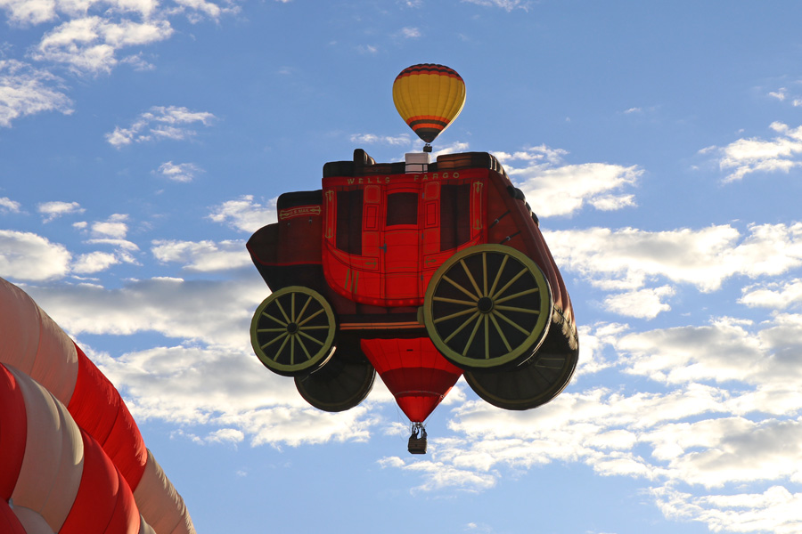 2017 Albuquerque International Balloon Fiesta in New Mexico Special Shapes Rodeo Well Fargo Stagecoach