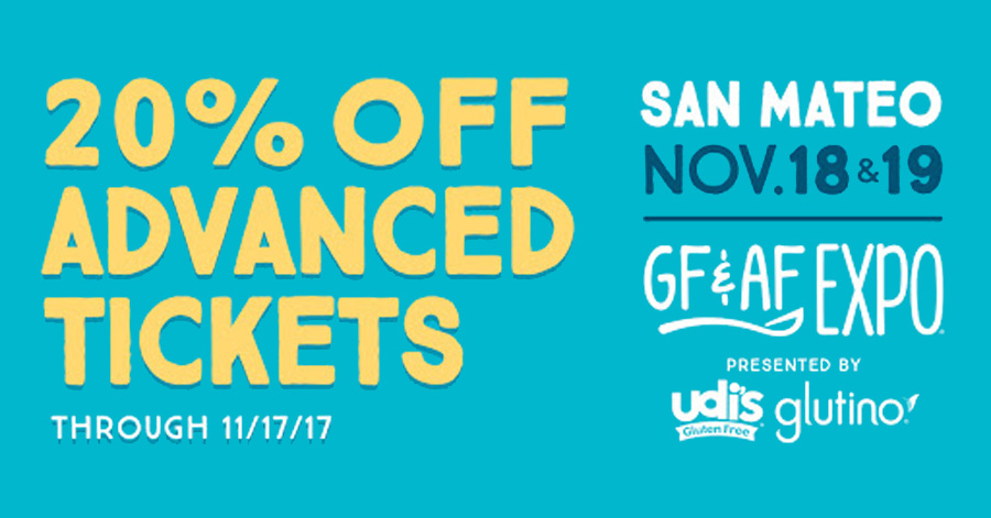 Gluten Free & Allergen Friendly Expo in San Mateo, CA November 18 & 19, 2017 20% off discount code