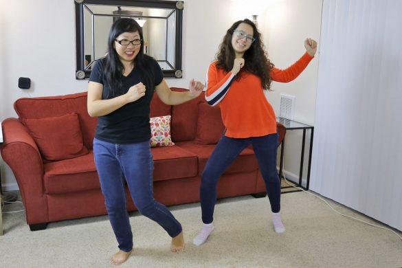 Using Sonos One and K-pop songs to bond with my teenager. Mom and daughter dancing