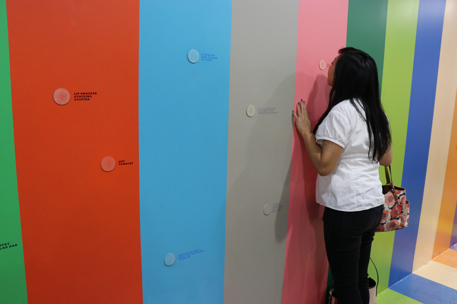 Color Factory in San Francisco, CA. Scratch and sniff wall