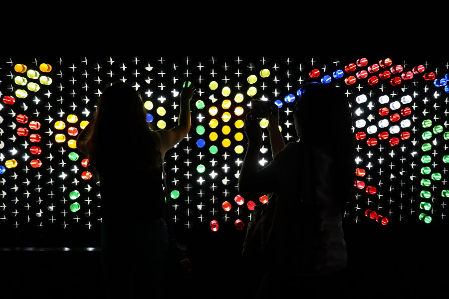 Color Factory in San Francisco, CA. Wall size lite brite