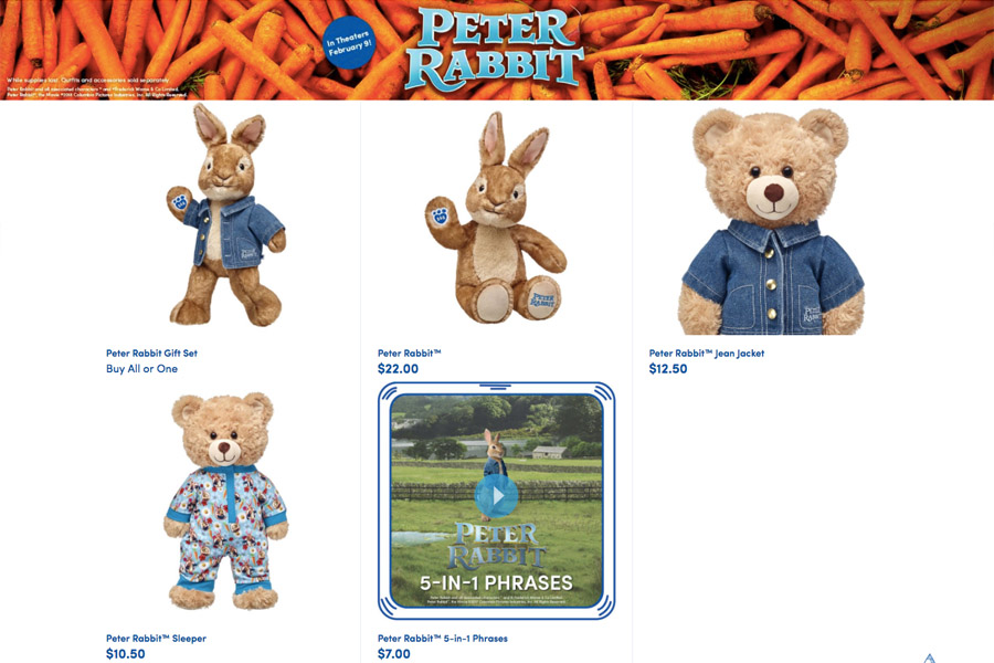 Peter Rabbit Build-A-Bear Workshop stuffed animal clothes and accessories