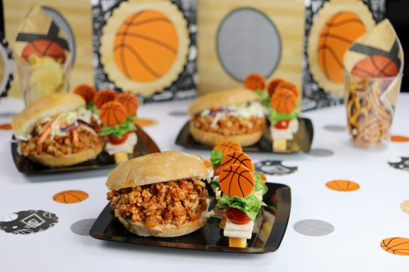 March Madness College Basketball Party Snack Ideas & Game Day Decorations — Gluten Free Turkey Sloppy Joes and Lunchmeat Skewers