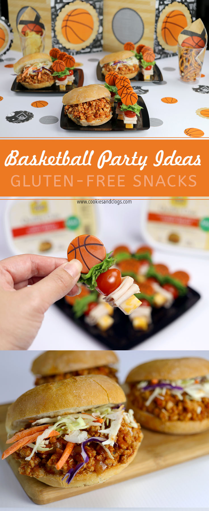 March Madness College Basketball Party Snack Ideas & Game Day Decorations — Gluten Free Turkey Sloppy Joes and Lunchmeat Skewers #MarchMadness #Basketball #PartyIdeas #GlutenFree
