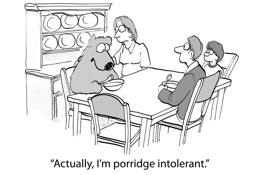 Dealing with food allergies / food sensitvities - gluten free, dairy free, soy free, corn free - humor, bear porridge intolerant