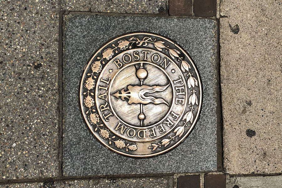 Check out some travel ideas for day trips near Boston Massachusetts and New England road trips. Boston Freedom Trail sidewalk seal