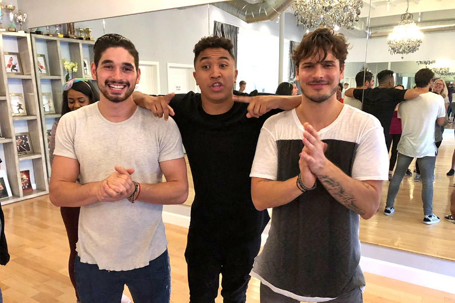 Dance lesson and interview with Dancing with the Stars pros and Dancing with the Stars: Juniors mentors Brandon Armstrong, Gleb Savchenko, and Alan Bersten at Pro Dance LA.