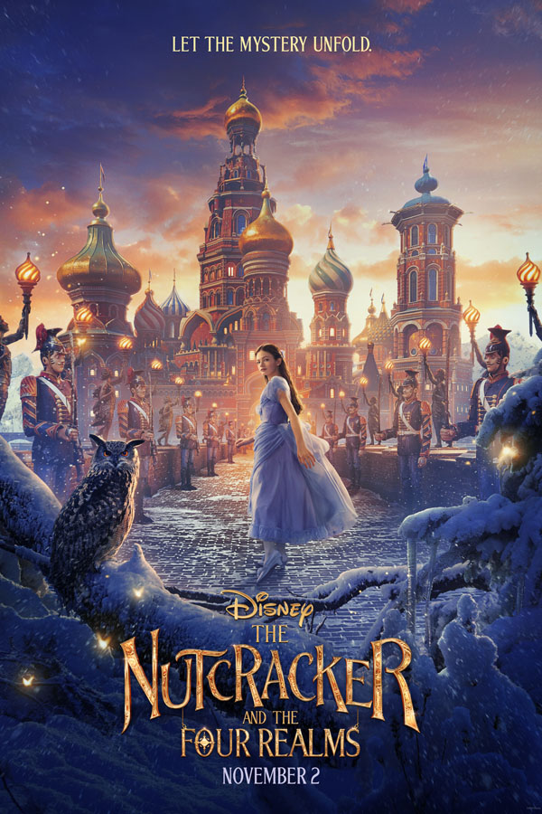 The Nutcracker and the Four Realms family movie review for adults and kids. Poster.