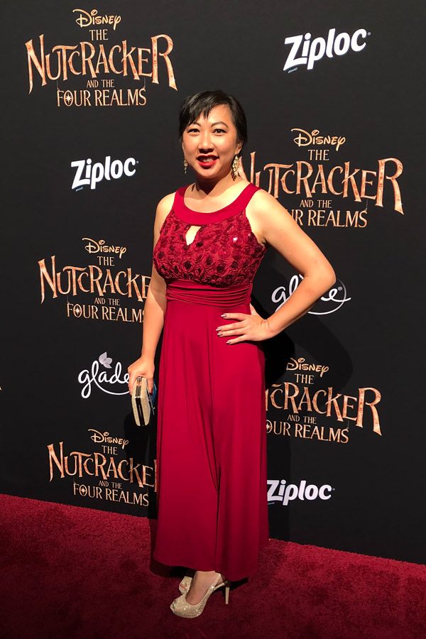 Attending Disney's Nutcracker and the Four Realms Red Carpet Premiere and pre-party in Los Angeles on October 29, 2018. Formal red evening dress