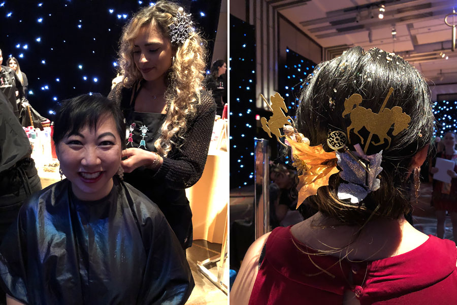Attending Disney's Nutcracker and the Four Realms Red Carpet Premiere and pre-party in Los Angeles on October 29, 2018. Sparkle updo hair station